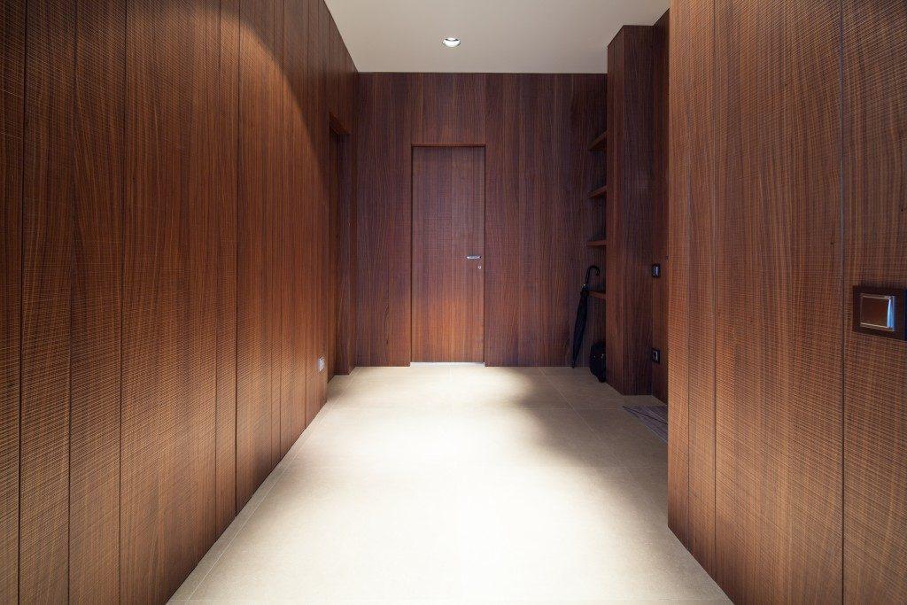 Interior of corridor made with mahogany