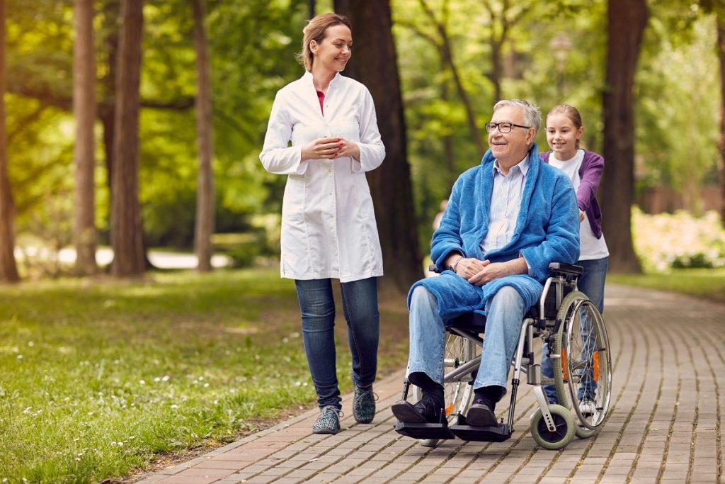 Elederly man with nurse